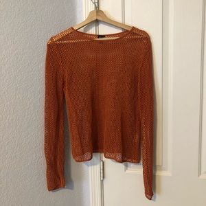 Eileen Fisher orange open knit long sleeve top S